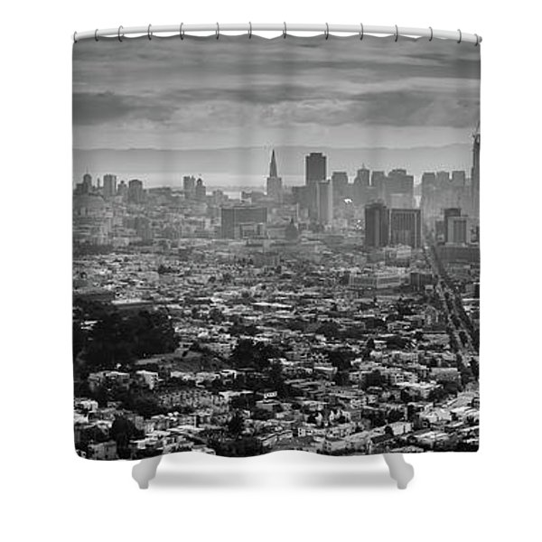 Back And White View Of Downtown San Francisco In A Foggy Day Shower Curtain