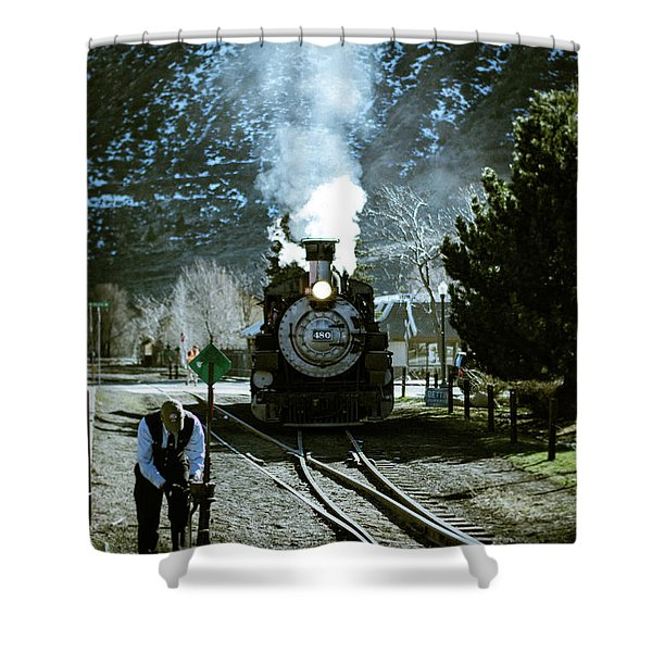 Shower Curtain featuring the photograph Backing Into The Station by Jason Coward