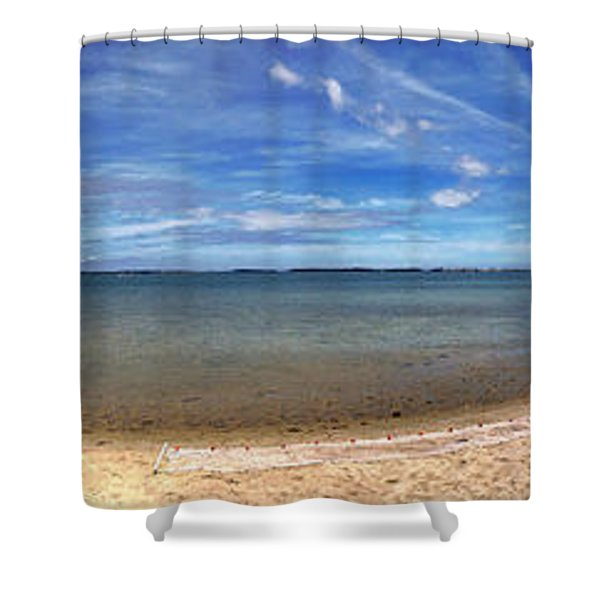 Backwater Bay Pano Shower Curtain