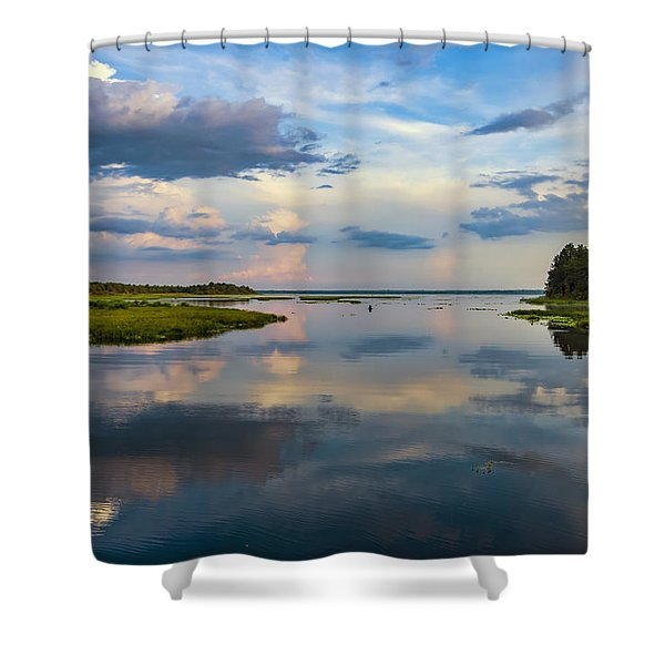 Backwater Sunset Shower Curtain