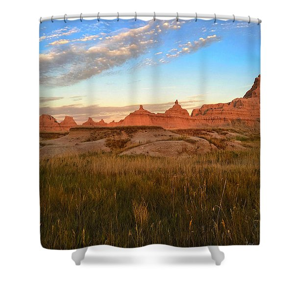 Badlands Evening Glow Shower Curtain