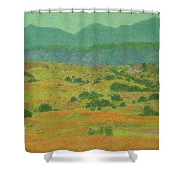 Shower Curtain featuring the pastel Badlands Grandeur by Cris Fulton