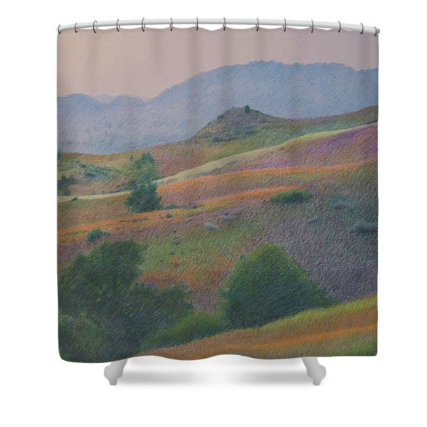 Shower Curtain featuring the pastel Badlands In July by Cris Fulton