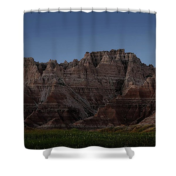 Shower Curtain featuring the photograph Badlands Moon Rising by Jemmy Archer