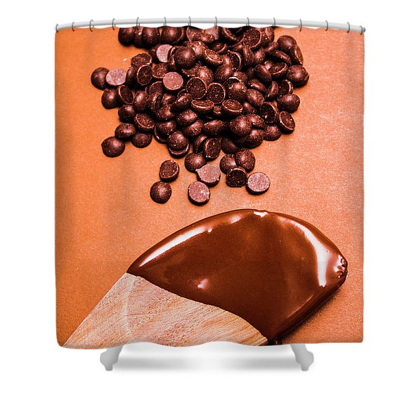 Baking Scene Of Spoon Covered With Chocolate Shower Curtain