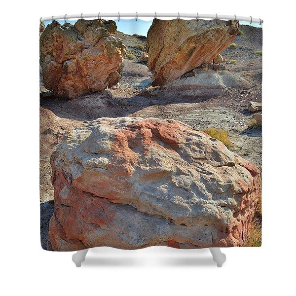 Balanced Boulders In Bentonite Site Shower Curtain