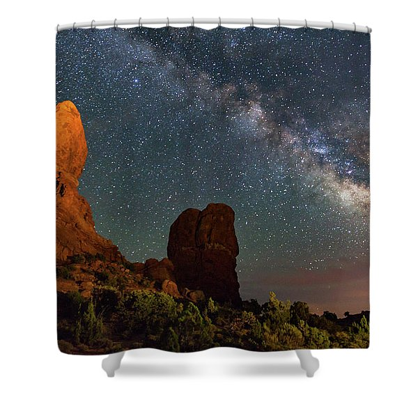 Balanced Rock And Milky Way Shower Curtain