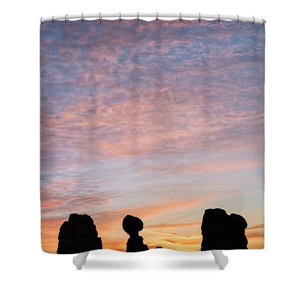 Balanced Rock At Sunrise Shower Curtain