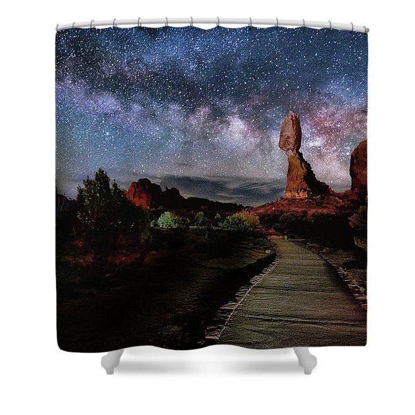 Balanced Rock Milky Way Shower Curtain