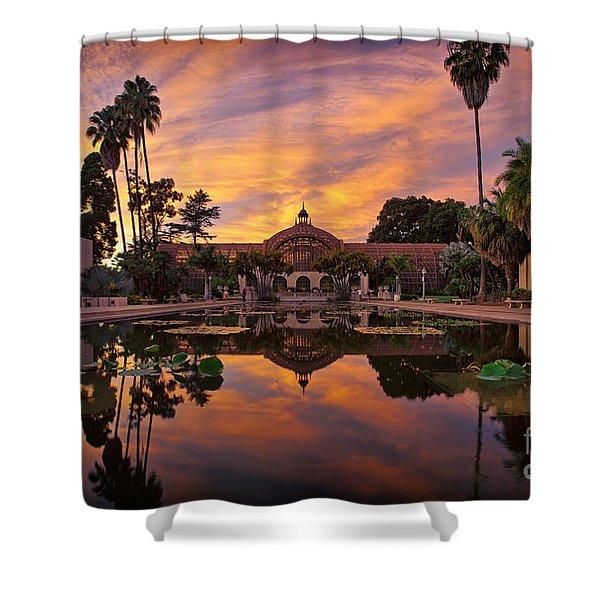 Balboa Park Botanical Building Sunset Shower Curtain