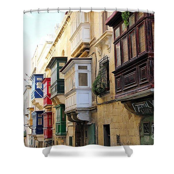 Balconies Of Valletta 3 Shower Curtain