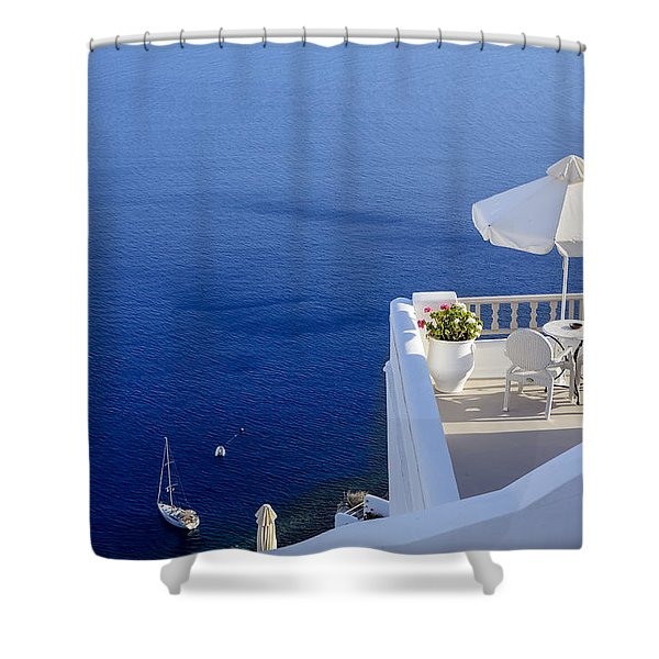 Balcony Over The Sea Shower Curtain
