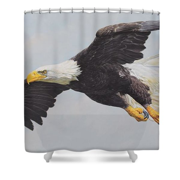 Shower Curtain featuring the painting Bald Eagle by Alan M Hunt