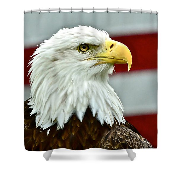 Bald Eagle And Old Glory Shower Curtain
