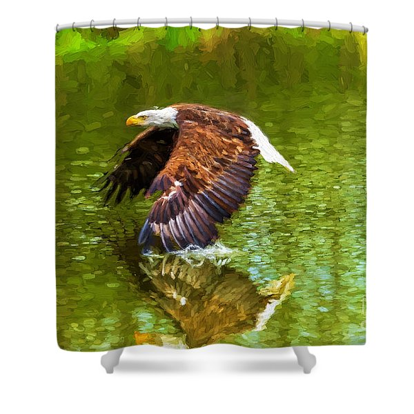 Bald Eagle Cutting The Water Shower Curtain
