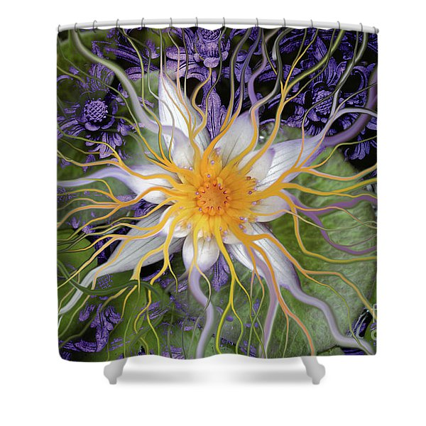 Shower Curtain featuring the painting Bali Dream Flower by Christopher Beikmann