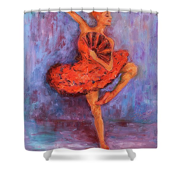 Ballerina Dancing With A Fan Shower Curtain