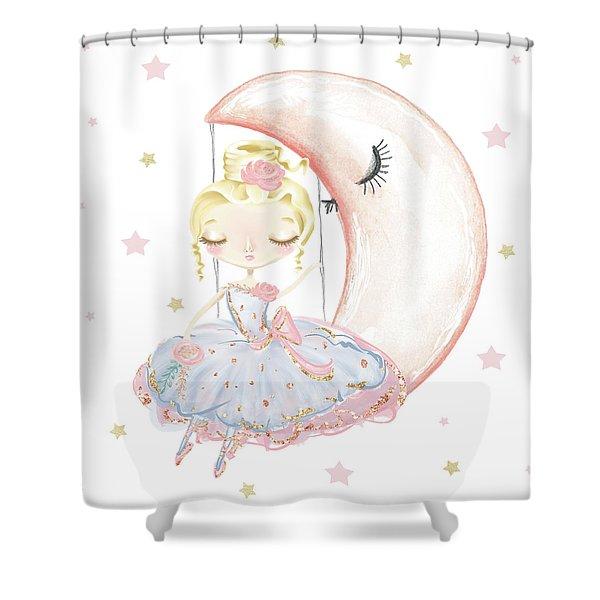 Ballerina Sitting On A Moon Stars Shower Curtain