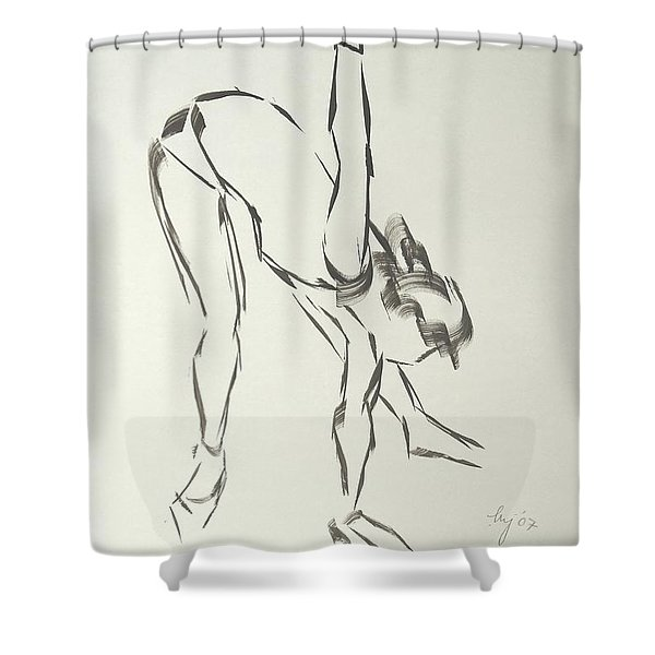 Ballet Dancer Bending And Stretching Shower Curtain