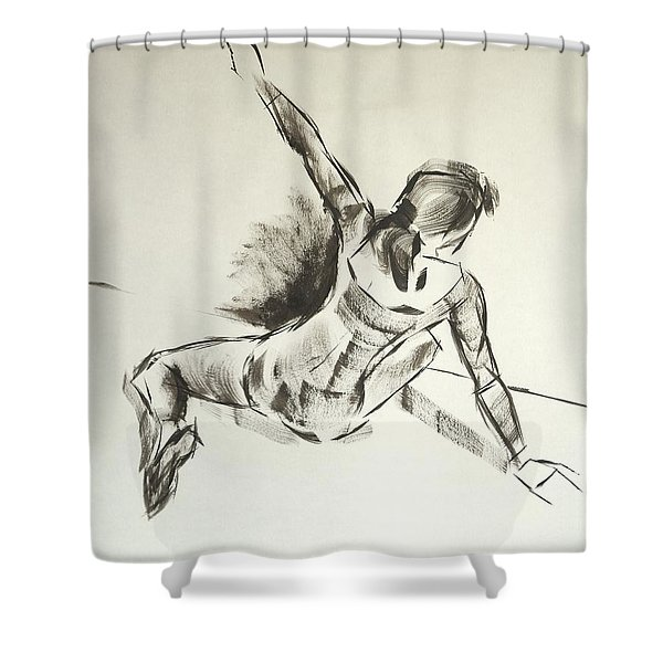 Ballet Dancer Sitting On Floor With Weight On Her Right Arm Shower Curtain
