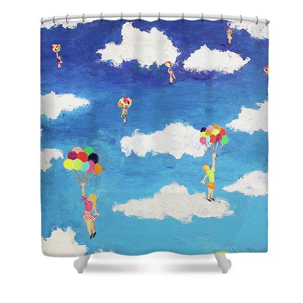 Balloon Girls Shower Curtain
