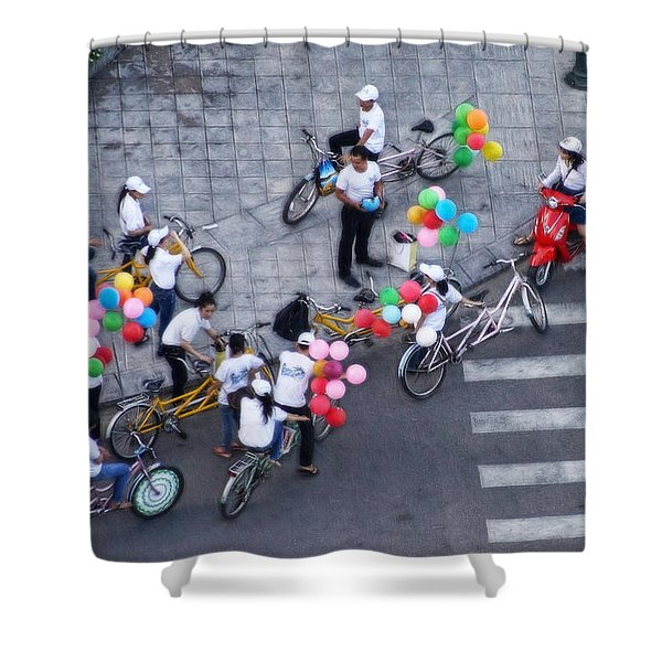Balloons And Bikes Shower Curtain