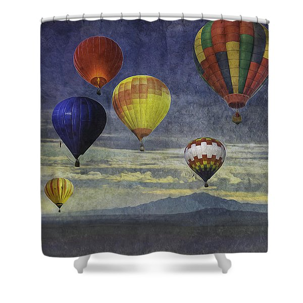 Balloons Over Sister Mountains Shower Curtain