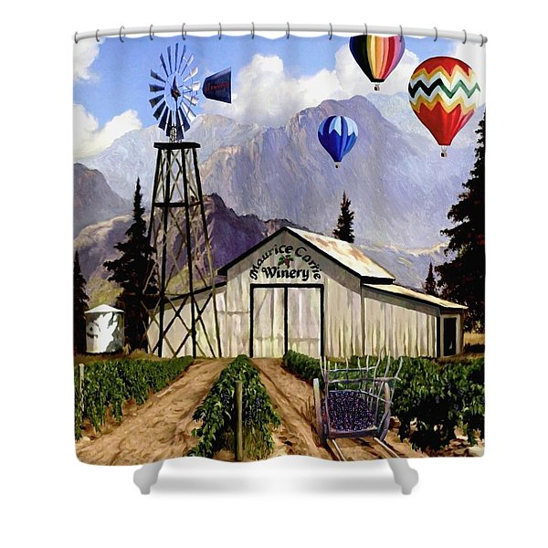 Balloons Over The Winery 2 Shower Curtain
