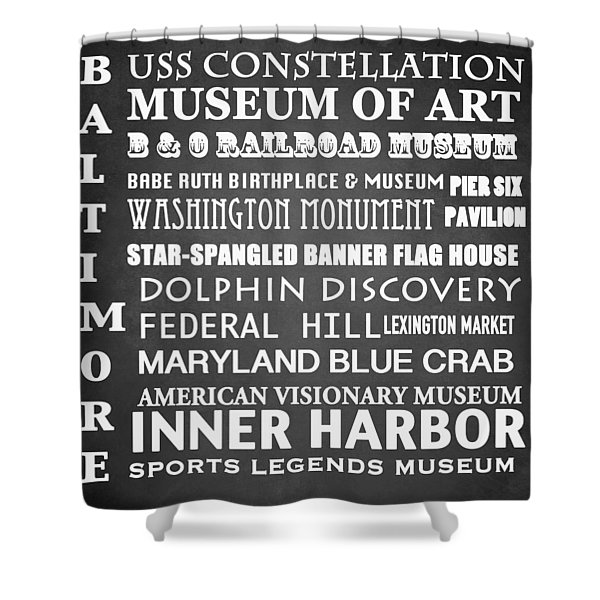 Baltimore Famous Landmarks Shower Curtain