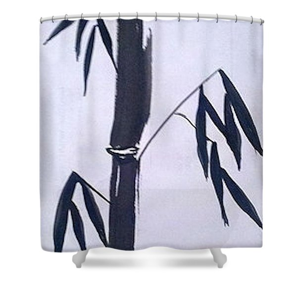 Bamboo In Black And White Shower Curtain
