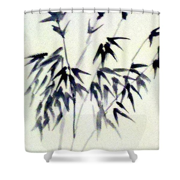 Bamboo In Black Ink Shower Curtain