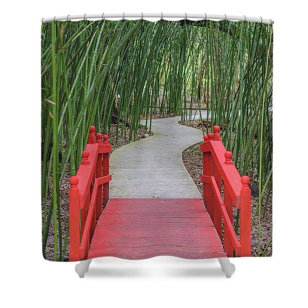 Bamboo Path Through A Red Bridge Shower Curtain
