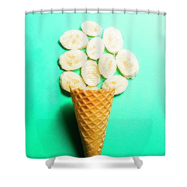 Bananas Over Sorbet Shower Curtain