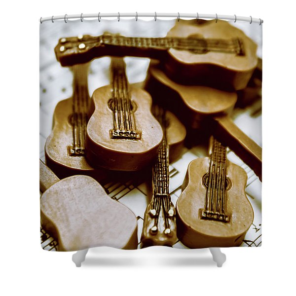 Band Of Live Acoustic Guitars Shower Curtain