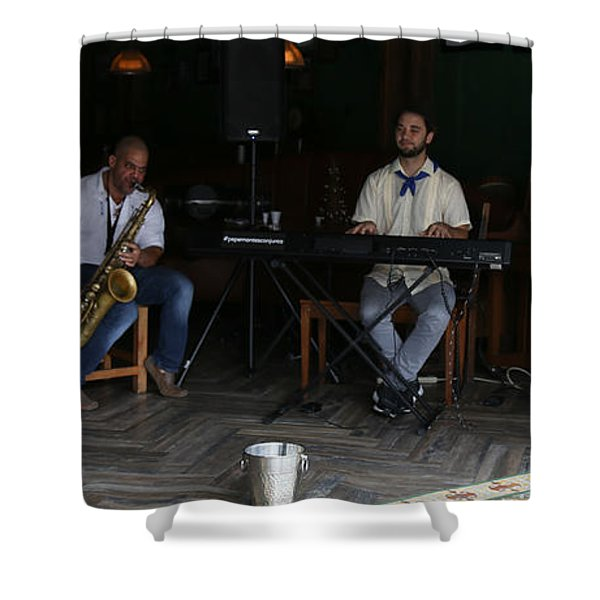 Band With Pink Girl Shower Curtain
