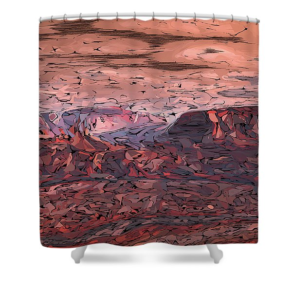 Banded Canyon Abstract Shower Curtain