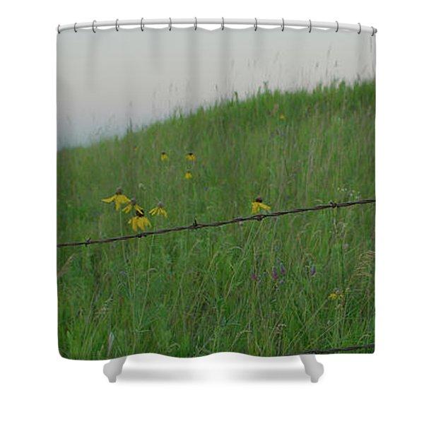 Barb Wire Prairie Shower Curtain