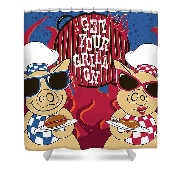 Barbecue Pigs Shower Curtain
