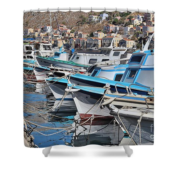 Harbour Of Simi Shower Curtain