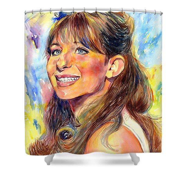 Barbra Streisand Young Portrait Shower Curtain