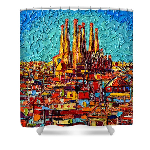 Barcelona Abstract Cityscape - Sagrada Familia Shower Curtain