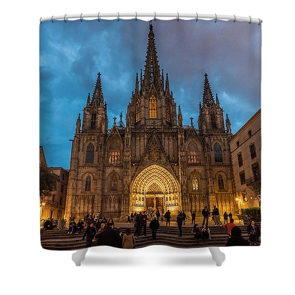Barcelona Cathedral At Dusk Shower Curtain