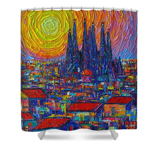 Barcelona Colorful Sunset Over Sagrada Familia Abstract City Knife Oil Painting Ana Maria Edulescu Shower Curtain