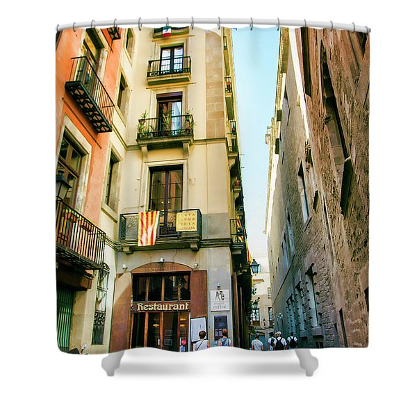 Barcelona La Rambia Restaurant Color Shower Curtain