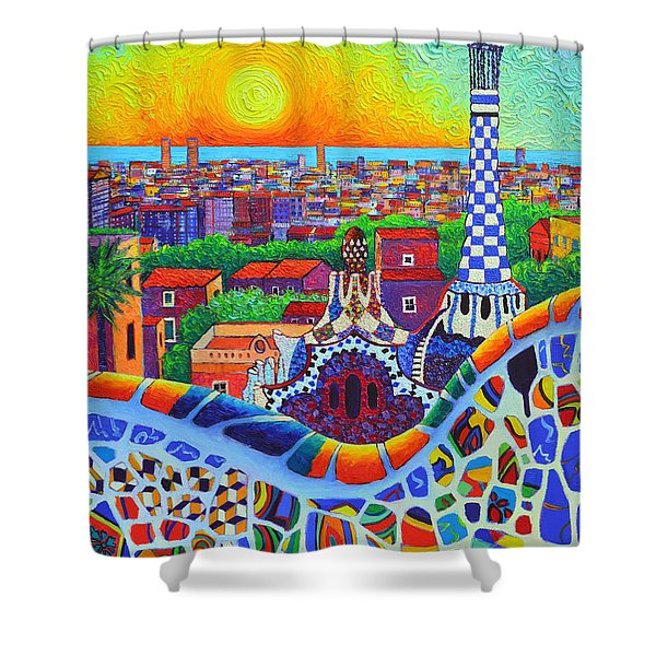 Barcelona Park Guell Sunrise Gaudi Tower Textural Impasto Knife Oil Painting By Ana Maria Edulescu Shower Curtain