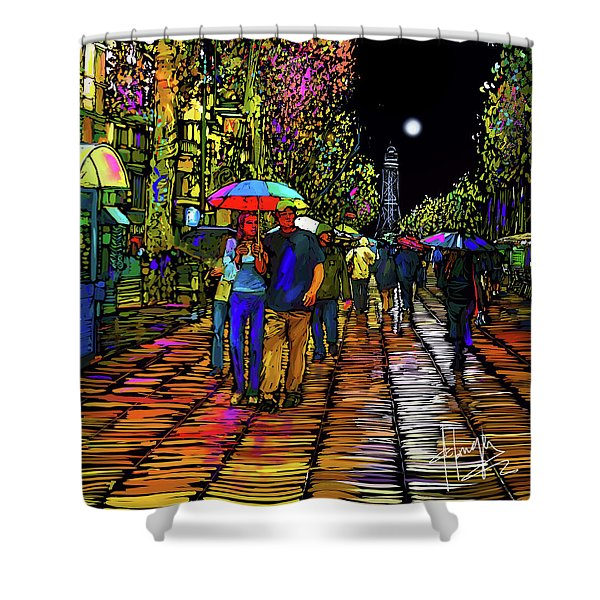 Barcelona Rain In Spain Shower Curtain