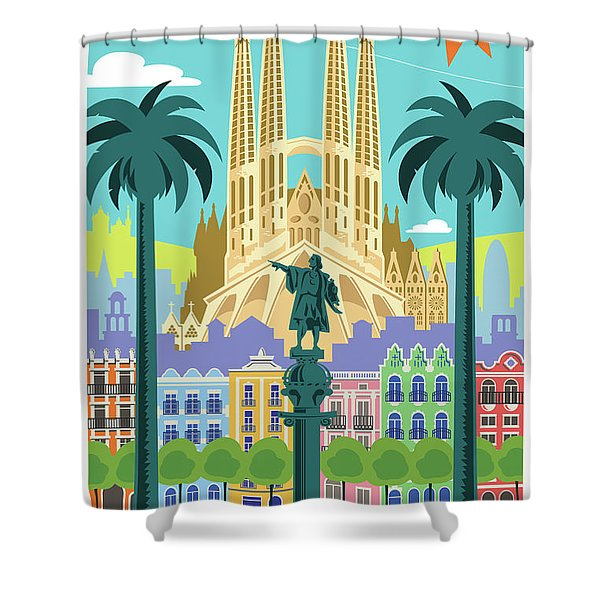 Barcelona Poster - Retro Travel  Shower Curtain