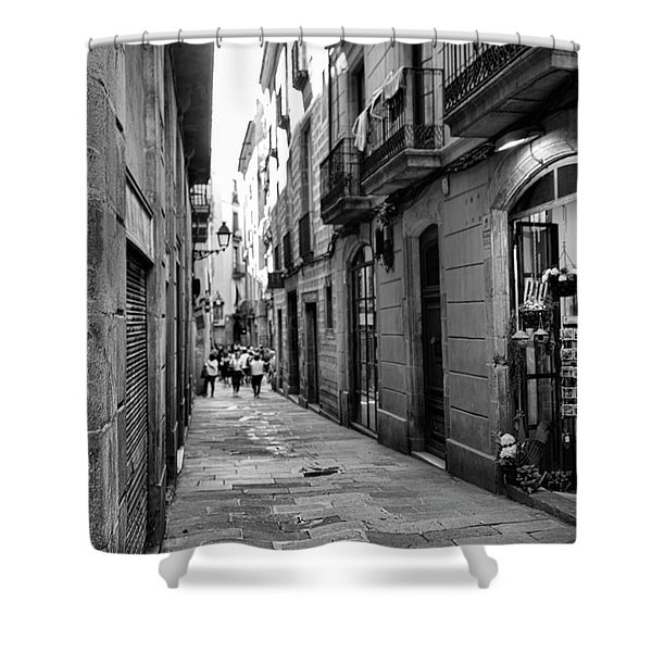 Barcelona Small Streets Bw Shower Curtain