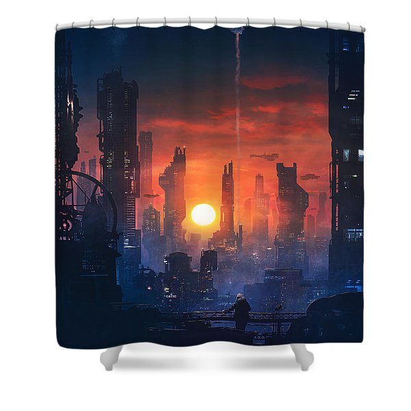 Barcelona Smoke And Neons The End Shower Curtain