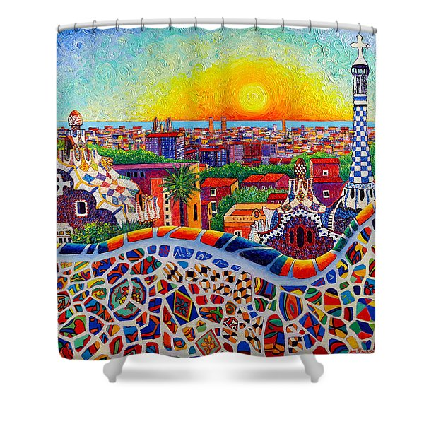 Barcelona Sunrise Colors From Park Guell Modern Impressionism Knife Oil Painting Ana Maria Edulescu Shower Curtain